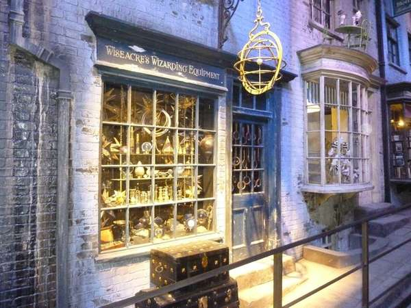 A storefront in Diagon Alley on the