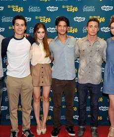 From left, actors Tyler Hoechlin, Dylan O'Brien, Holland
