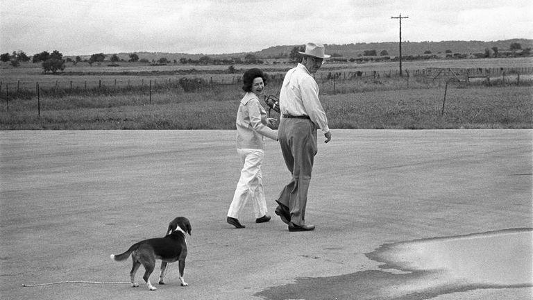 President Lyndon B. Johnson and his wife, Lady
