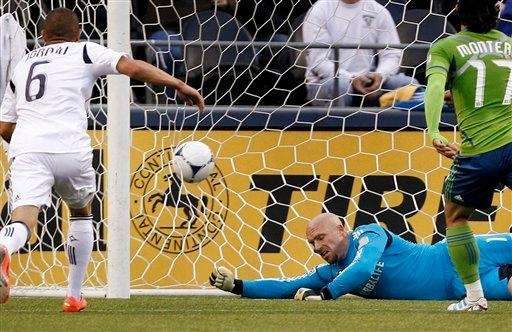 Los Angeles Galaxy goalie Bill Gaudette hits the
