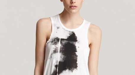 A graphic tank from Helmut Lang is a