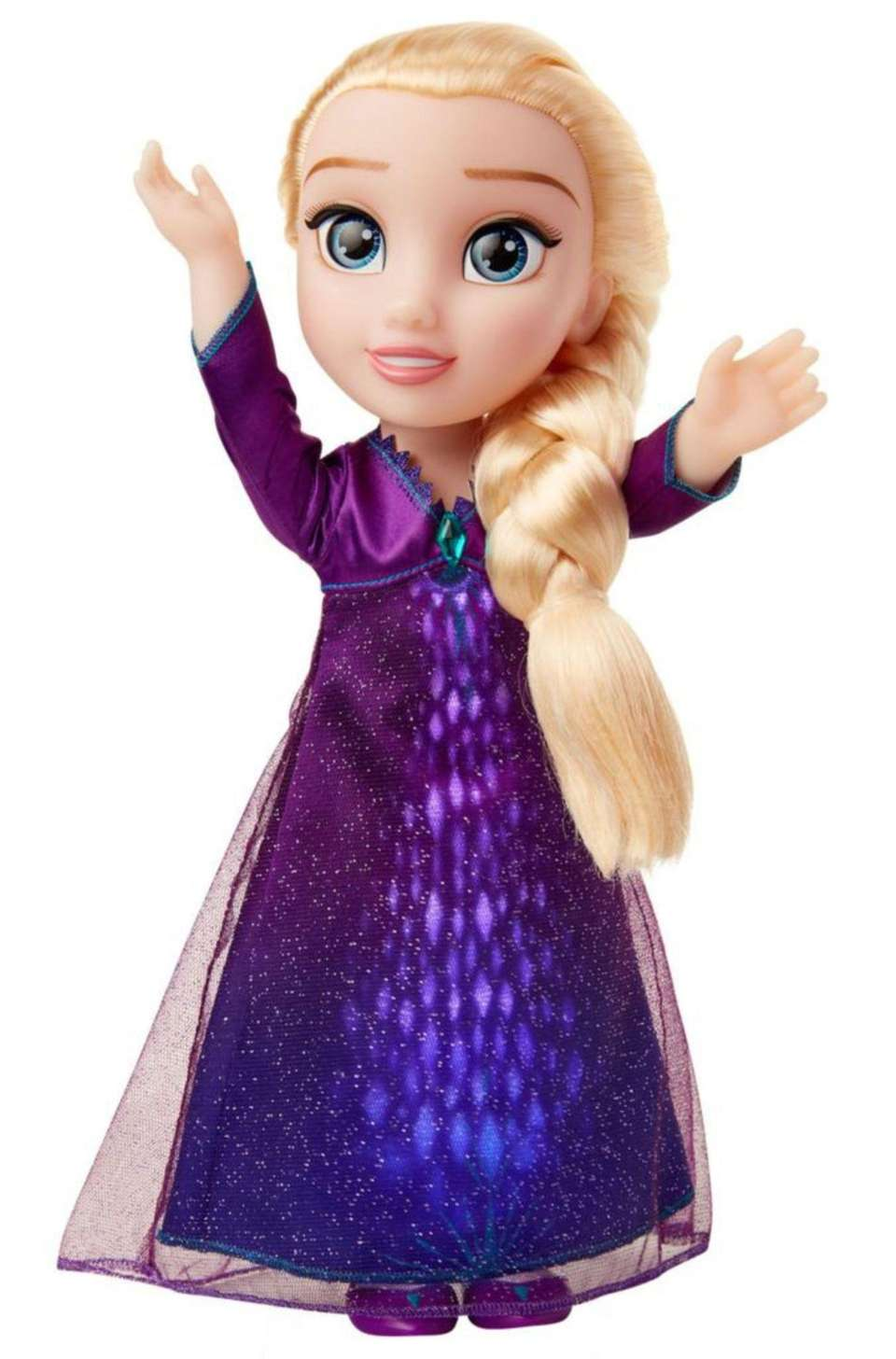 "Wearing a dress from ""Frozen 2,"" this 15-inch"
