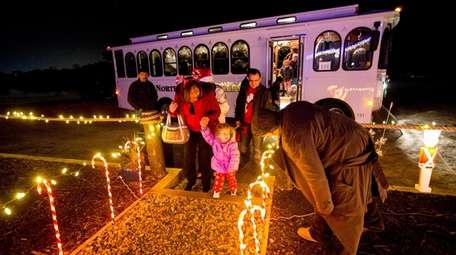 The Polar Express trolley ride from Riverhead arrives