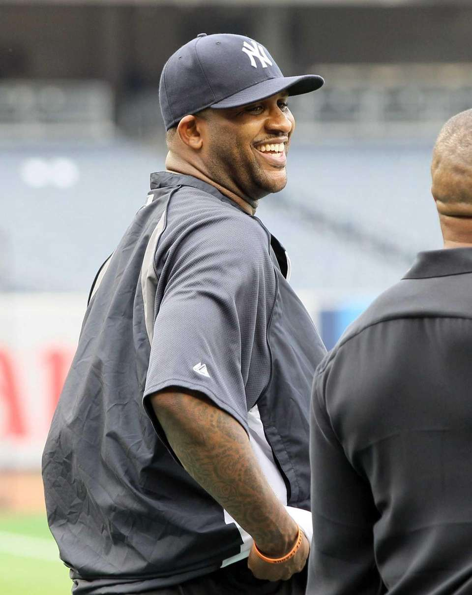 CC Sabathia during batting practice before a game