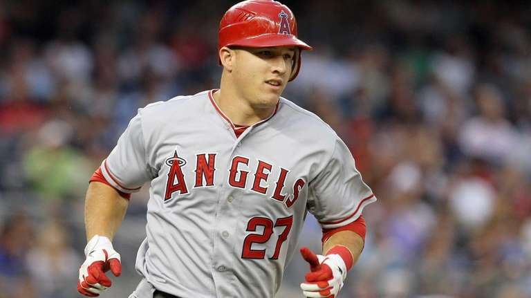 Mike Trout singles in the third inning. (July