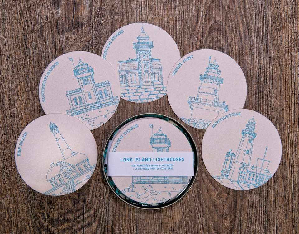 These five hand-drawn letterpress coasters feature iconic Long