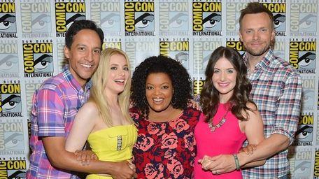 Actors Gillian Jacobs, Danny Pudi, Yvette Nicole Brown,