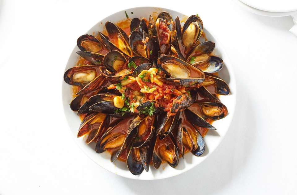 Cozze Posillipo, plump mussels arrayed in tight concentric