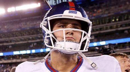 Daniel Jones of the Giants walks on the