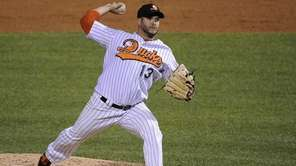 Long Island Ducks pitcher Jason Monti delivers in