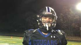 Centereach senior Matt Robbert discusses his team's 41-21