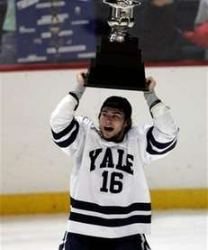 Yale's Sean Backman celebrates his team's 5-0 win