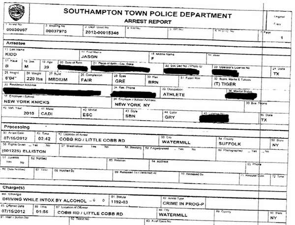 Arrest report for Jason Kidd produced by Southampton