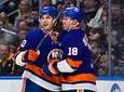 Islanders center Derick Brassard, left, celebrates his goal