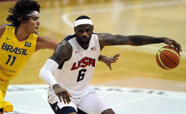 LeBron James #6 of the US Men's Senior