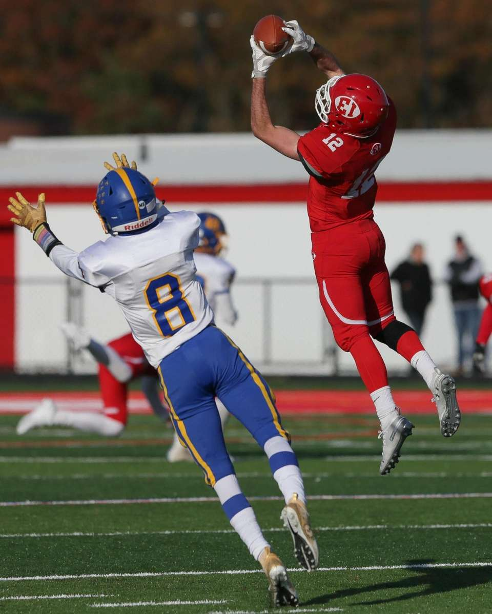 East Islip's Nick Baldino (12) pulls in a