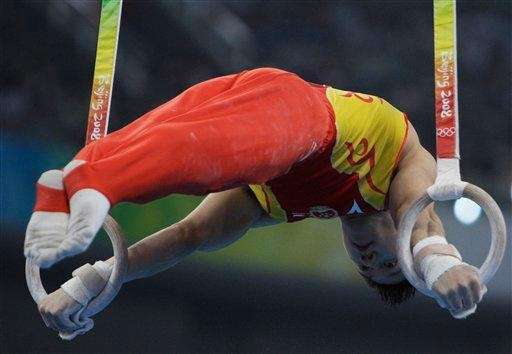 Chinese gymnast Chen Yibing performs on the rings