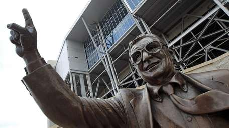 A statue of former Penn State football coach