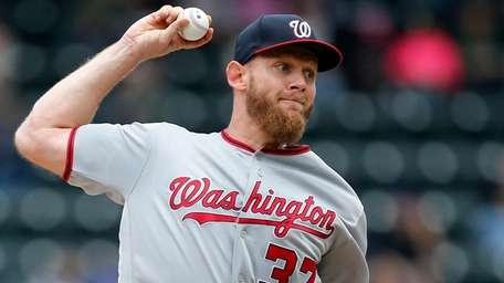 Stephen Strasburg of the Washington Nationals pitches during