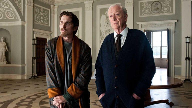Christian Bale as Bruce Wayne, left, and Michael