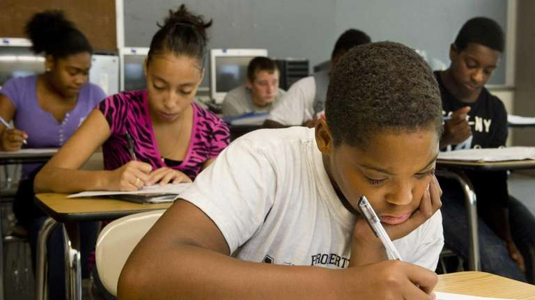English Middle school student Ed Sands working on