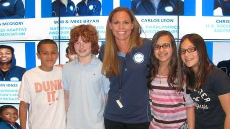 US Women's soccer player Christie Rampone with Kidsday