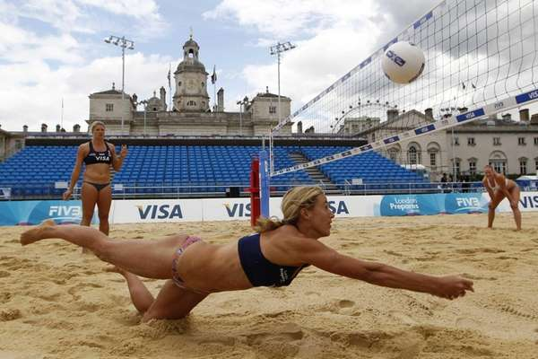 Denise Johns, a member of Britain's beach volleyball