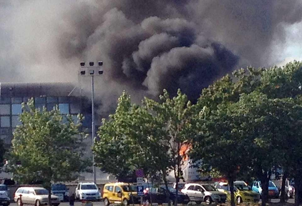 A picture shows smoke rising over Bourgas airport