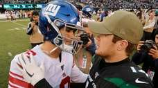 Daniel Jones of the Giants and Sam Darnold