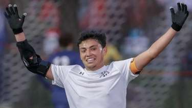 Brandon Yanez reacts as time expires in Brentwood's