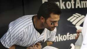 New York Yankees' Nick Swisher is cooled down