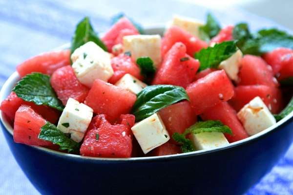 A light and refreshing salad of watermelon and