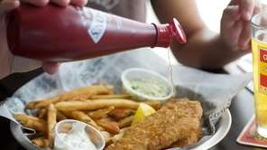 The fish and chips offer crisply battered cod
