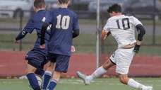 Brentwood's Brandon Yanez scores his second goal of