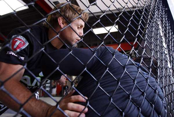 Urijah Faber, from Sacramento, Calif., works out at