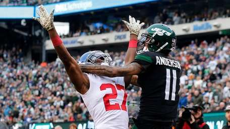 Deandre Baker of the Giants commits an interference