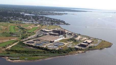 An aerial view of the Bergen Point Sewage