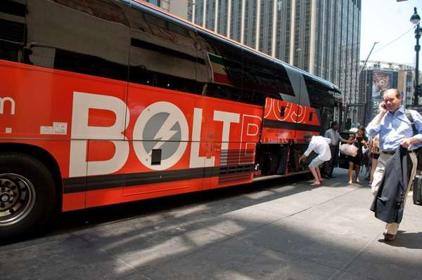 Bolt Bus, an inexpensive luxury bus service, in