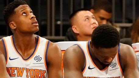 Knicks guard Frank Ntilikina and Knicks forward Julius
