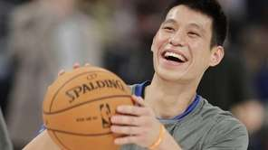 Jeremy Lin laughs during warmups. (Feb. 24, 2012)