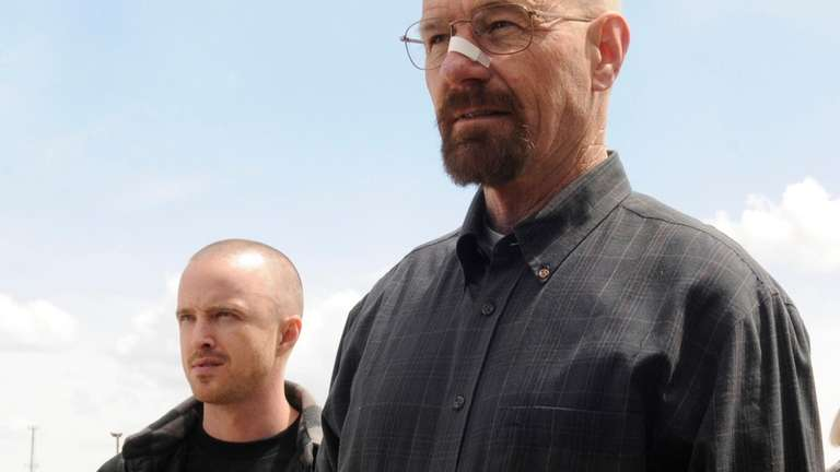 Bryan Cranston as Walter White, right, and Aaron