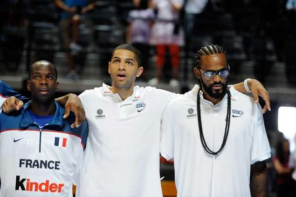 (LtoR) French Steed Tchicamboud, Nicolas Batum and Ronny