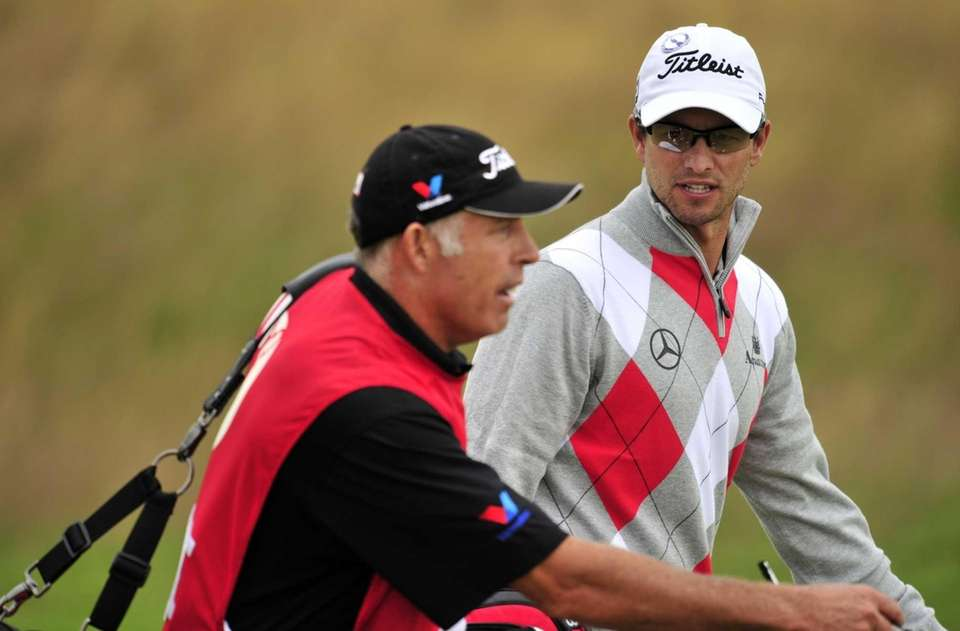 Adam Scott, right, and his caddie Steve Williams