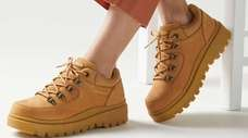 Suede sneaker boots look tough enough for hiking,