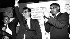 Nov. 3, 1992--Wheatley Tavern--(L-R)Joeseph Mondello congratulates Peter King