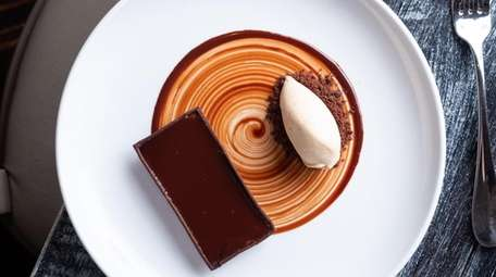 A chocolate caramel tart, one of the recipes