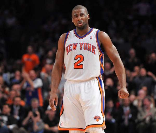 Knicks point guard Raymond Felton reacts after being
