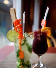A mojito and sangria at Havana Central at