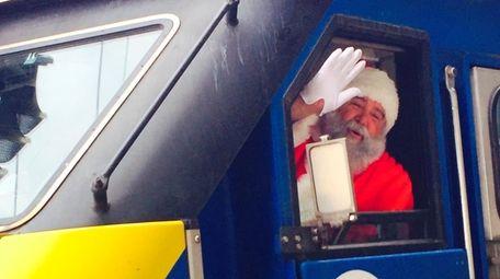 Santa conducts the 2017 LIRR Holiday Express train