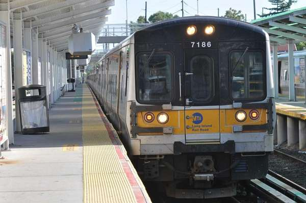 A file photo of an LIRR train arriving